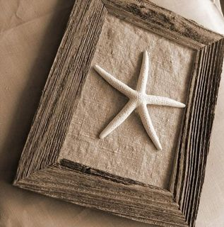 Starfish Art with old Barnwood frame-flaxandspindle.etsy